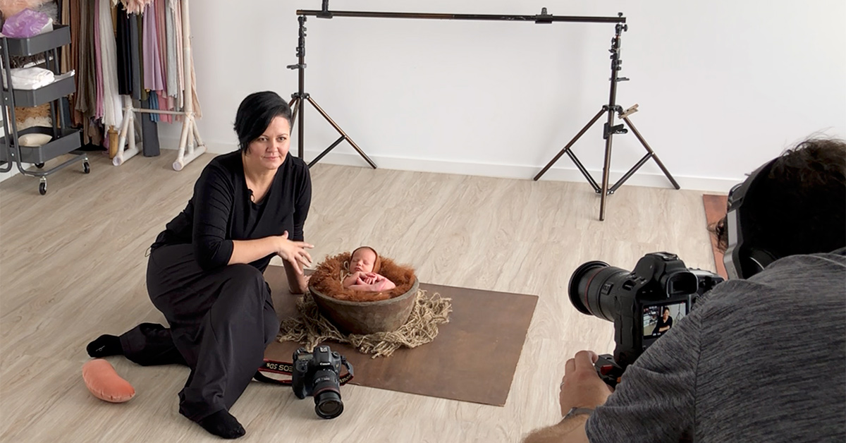 Newborn photography with Kelly Brown demonstrating the pose that the baby is in