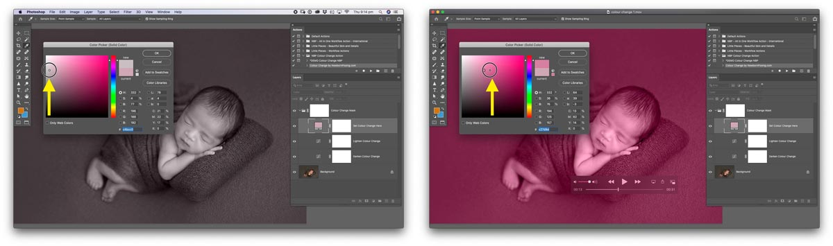 how to choose colours in photoshop with the colour picker