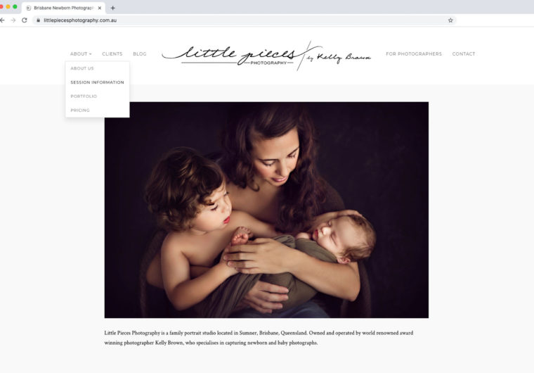 Little Pieces Photography website homepage by Kelly Brown